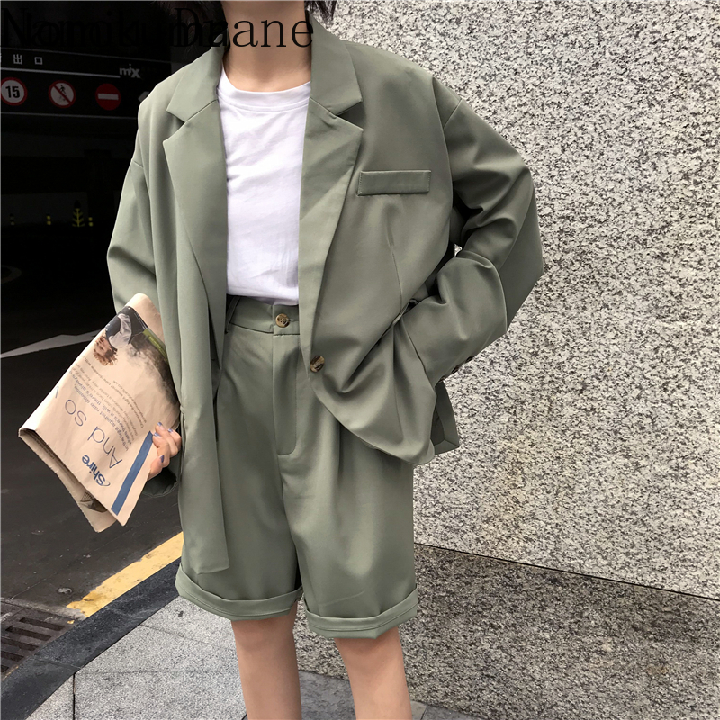 Vintage Fashion 2 Piece Outfits Women Solid Casual Blazers High Waist Suit Knee Length Pants Lady Sets Streetwear 3a796