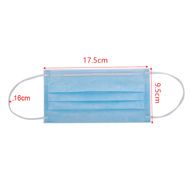 Protectiv Masks Non-woven 3-layer Face Mask Breathable Elastic Earband  Adult