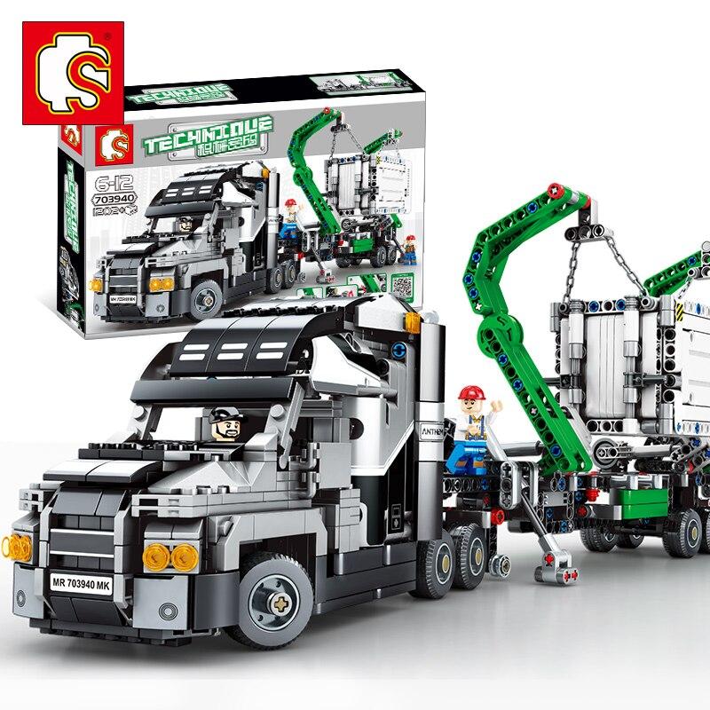 Маркированный контейнер грузовик блоки транспортные средства строительные блоки совместимы с LegoING Technic 42078 кирпичи образовательные строительные игрушки