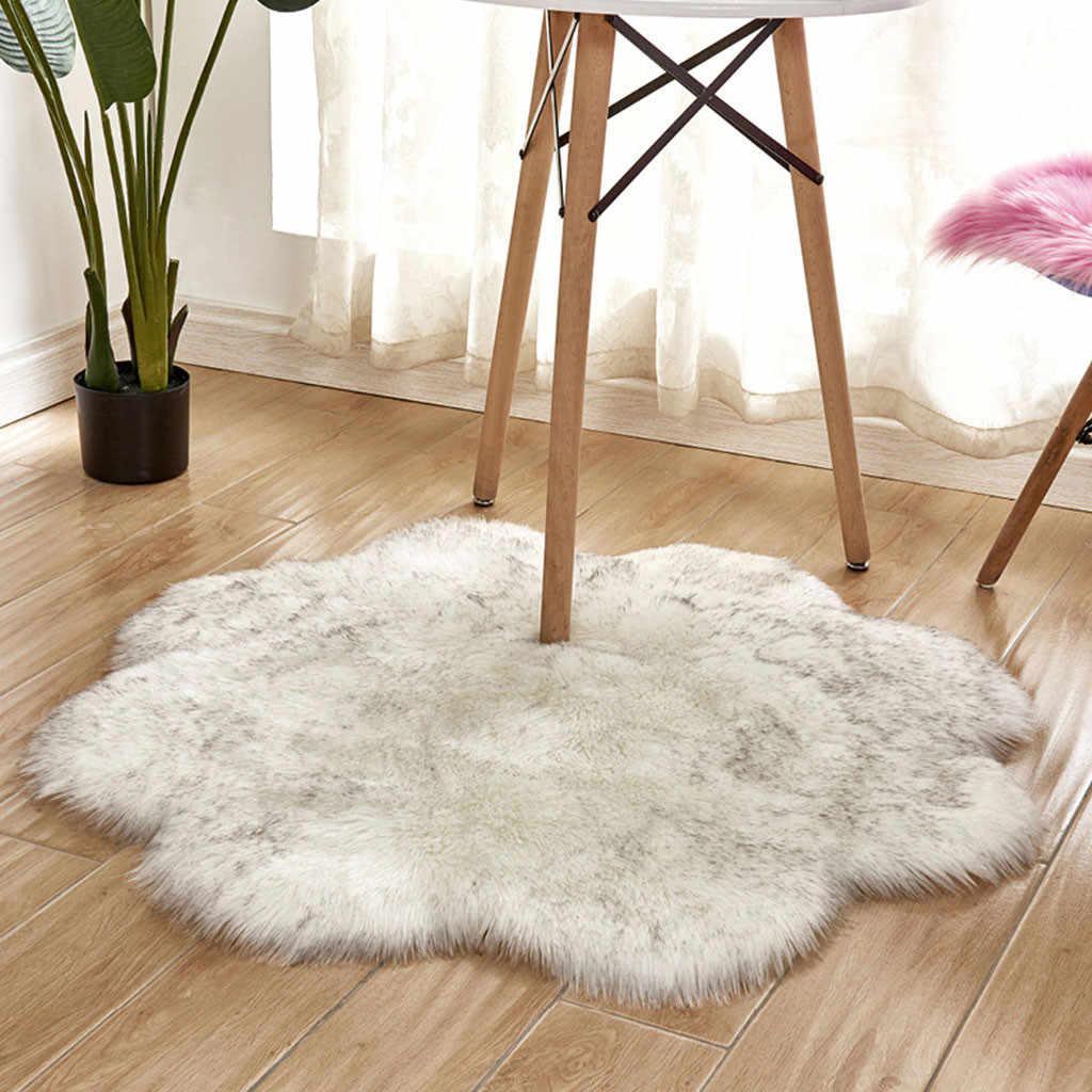 Alfombra de piel de oveja rosa en forma de flor antideslizante peludo suave piel sintética lana baño niños alfombras para sala de estar moderno F99