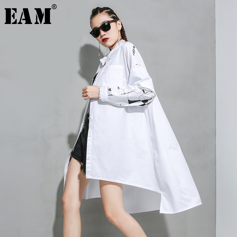 [EAM] Women Asymmetrical Letter Printed Big Size Blouse New Lapel Long Sleeve Loose Fit Shirt Fashion Spring Autumn 2020 1R936