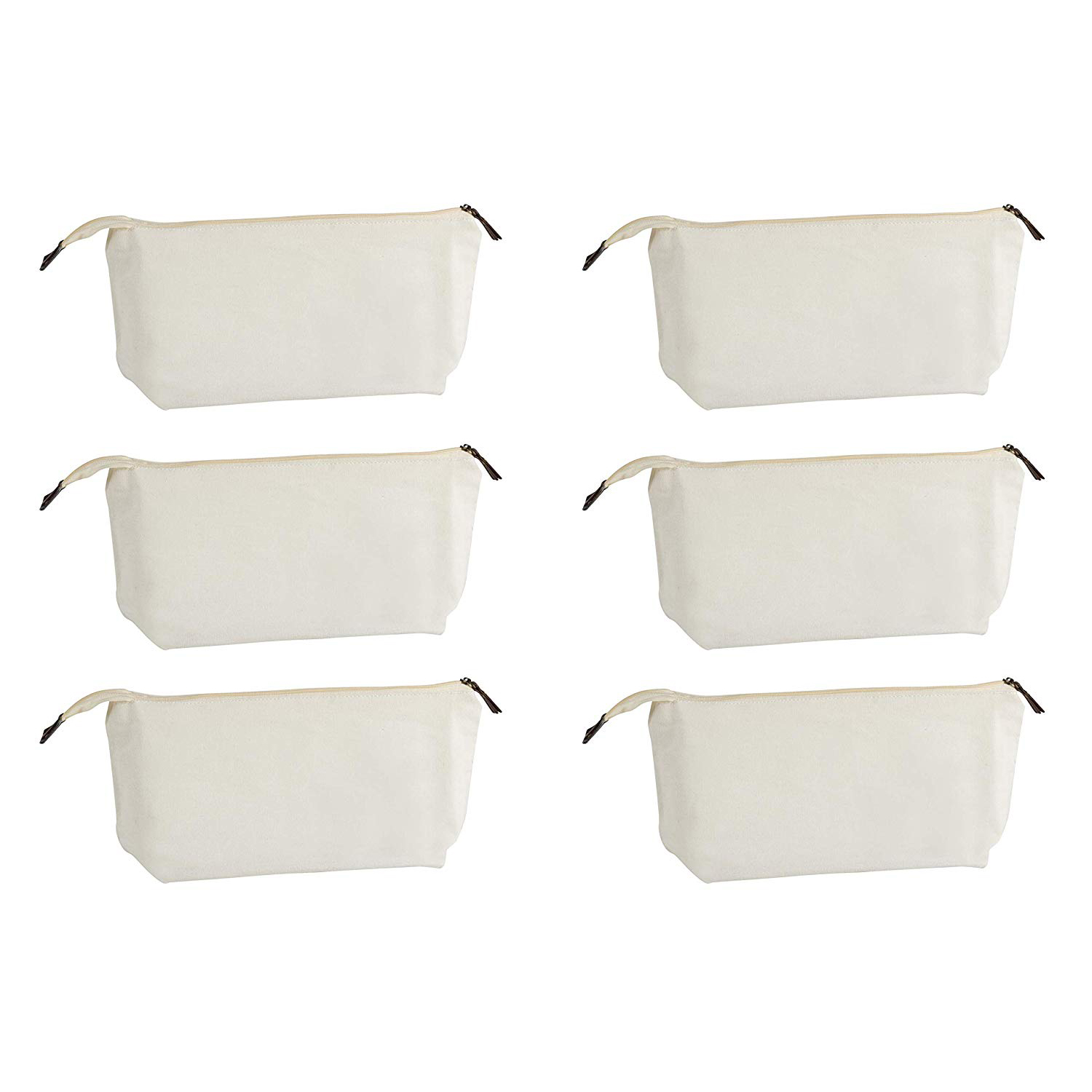 Multipurpose Cosmetic Bag With Zipper - 6-Pack Plain DIY Natural Make-Up Pouch, Cotton Canvas Travel Toiletries Bag,
