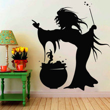 Happy Halloween Witch Magic Wall Sticker Vinyl Home Decor For Kids Room Nursery Decals Window Murals Removable Wallpaper 3722 halloween home decoration witch house castle removable wall sticker for decor