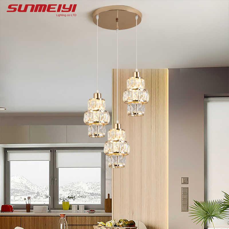 북유럽 LED 펜 던 트 조명 크리스탈 골드 교수형 테이블 바 부엌 거실 lampada 산업 현대 빛