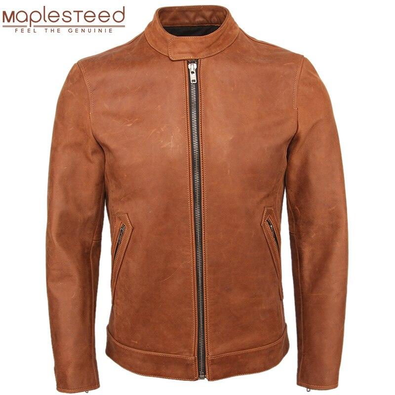 Men Genuine Leather Jacket 100% Cowhide Slim Fit Brown Men Leather Jacket Man Calf Skin Coat Autumn Male Winter Clothing M140