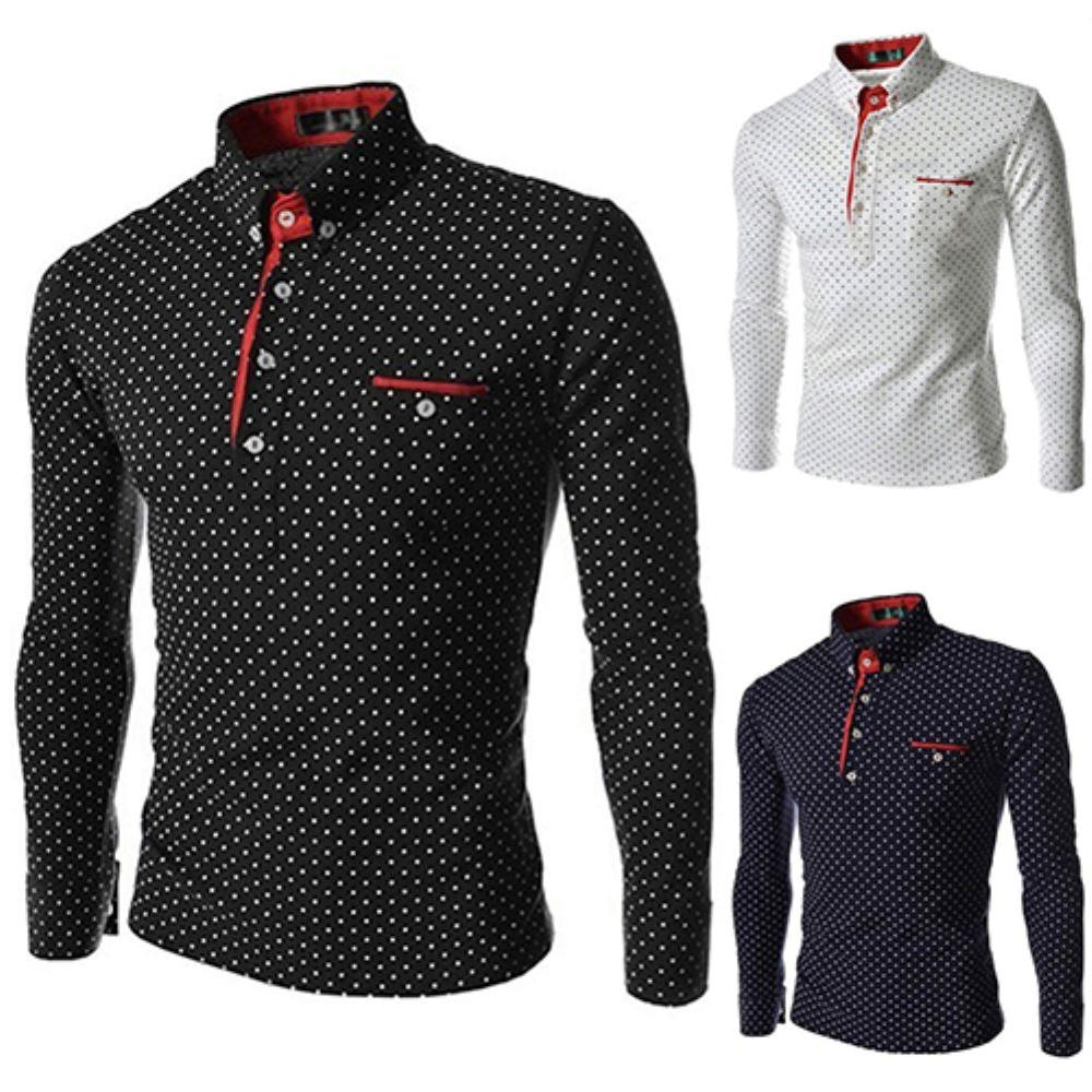 Men England Trendy Wave Point Self-Cultivation Long Sleeved Tide Polo Shirt Top мужской корейский стиль футболка 2020 мужская