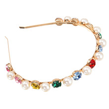 ZHINI New Korean Trendy Imitation Pearls Headbands for Women Retro Alloy Colorful Crystal Hair band Hair Accessories Jewelry
