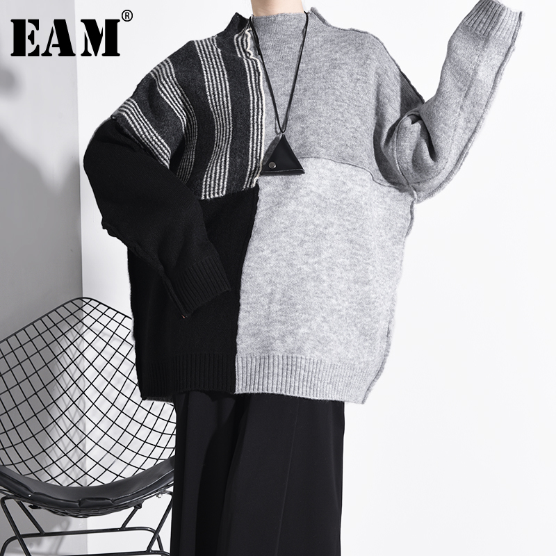 [EAM] Big Size Contrast Color Knitting Sweater Loose Fit Round Neck Long Sleeve Women Pullovers New Fashion  Spring 2020 A267