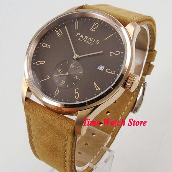 Parnis 42mm 5ATM ST 1731 Automatic men's watch Rose golden case coffee dial date leather strap waterproof 957