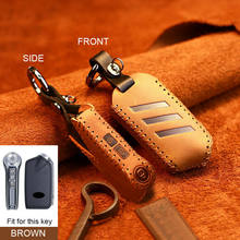 Genuíno carro de couro inteligente remoto chave capa caso titular para kia stinger k900 2019 tampas chave para casa chaves