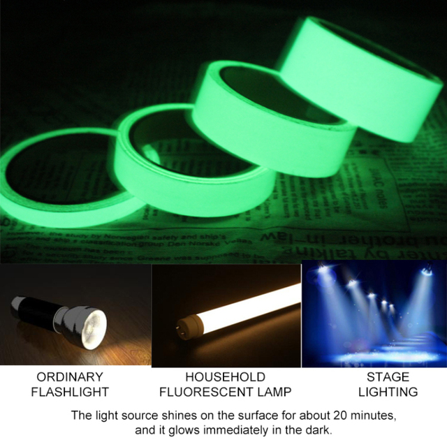 1cm X 1M Luminous Fluorescent Night Self-adhesive Glow In The Dark Sticker Tape Safety Security Home Decoration Warning Tape 5