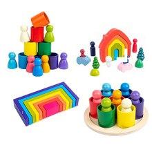 Brinquedos de madeira diy montado casa arco-íris blocos de construção conjunto crianças montessori aprendizagem precoce empilhados equilíbrio brinquedos educativos