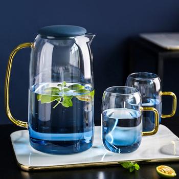 Dzbanek na wodę szklany dzbanek na wodę do użytku domowego czajnik dzbanek na herbatę szklany dzbanek na wodę dzbanek na wodę z uchwytem do wrzenia zimny napój Ware szklany dzban tanie i dobre opinie CN (pochodzenie) SHB3-BU Szkło Water Jug Water Pots Kettles Blue 300ml 1550ml Glass teapot with infuser Chinese Kungfu TeaPot