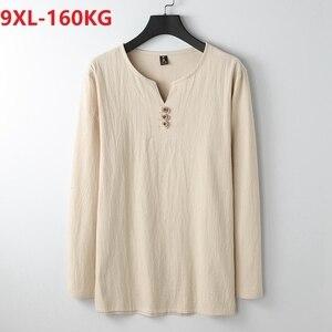 Image 2 - autumn Chinese style T shirt long sleeve Men plus size vintage Tang suit tees oversize linen cotton 8XL 9XL home loose underwear