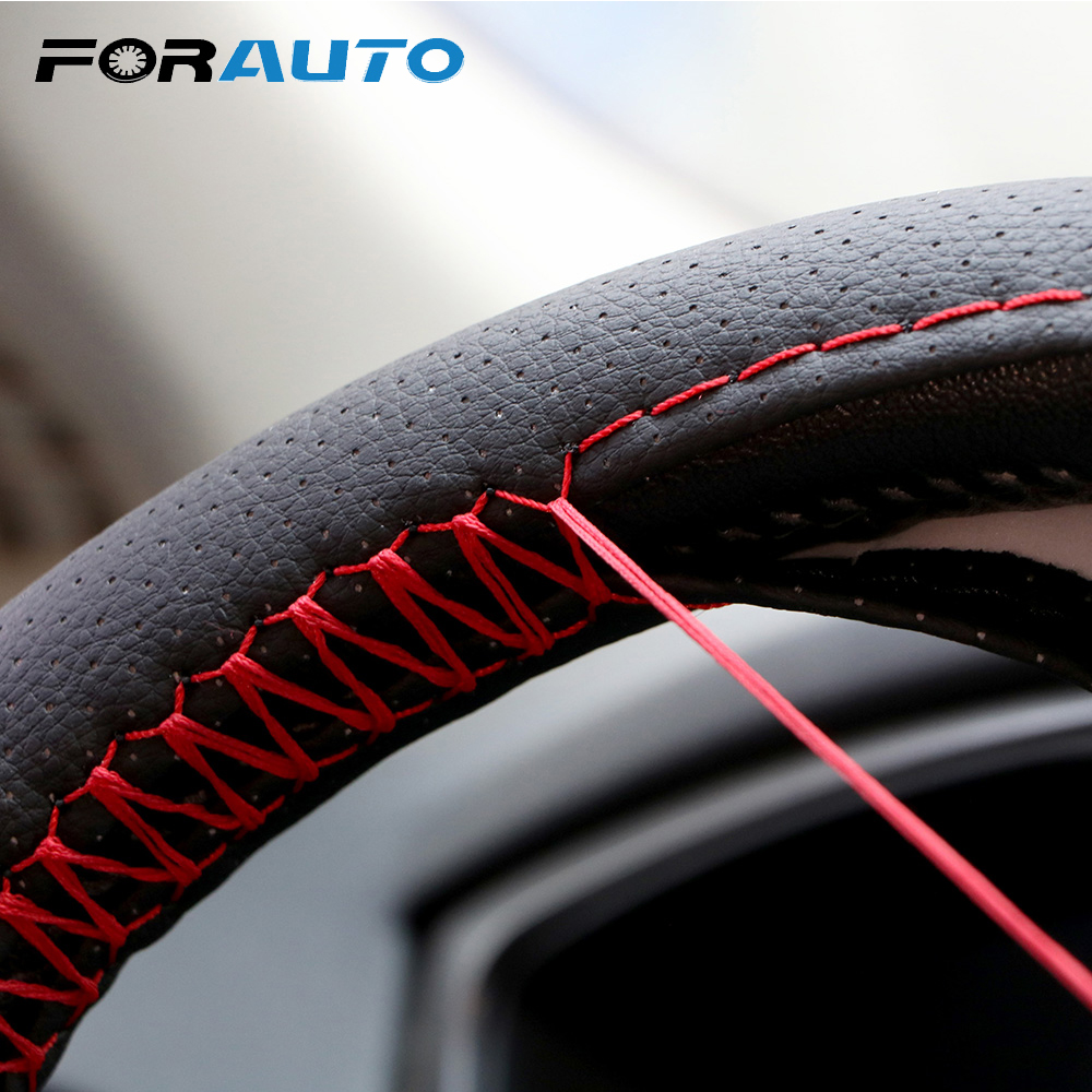 FORAUTO Braid On Steering Wheel Car Steering Wheel Cover With Needles And Thread Artificial Leather Diameter 38/40cm Car-styling
