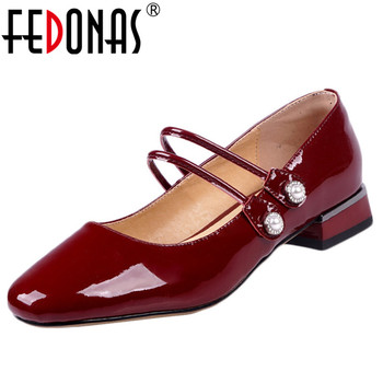 FEDONAS Mary Jane Shoes Women Spring Autumn Four Season Basic Party Shoes Woman Patent Leather Classic Shallow Round Toe Pumps
