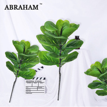 72cm Big Fake Banyan Tree Branch Artificial Evergreen Plant Leaves Decoration Real Touch Tropical Palm Leafs for Home Ornaments