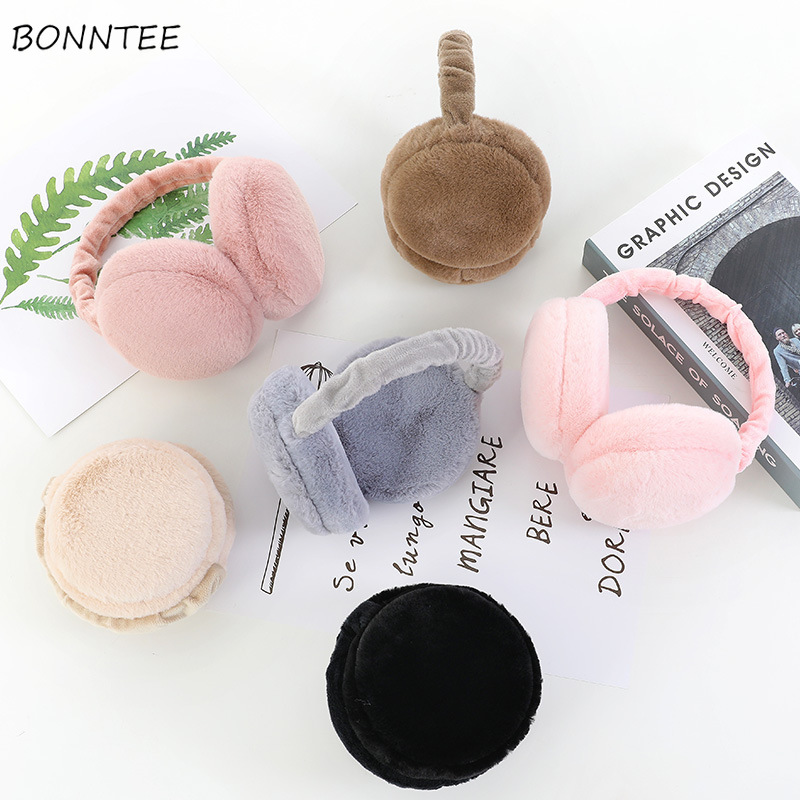 Earmuffs Women Winter Warm Thicker All-match Solid Couples Korean Style Ulzzang Womens Ear Muffs Trendy Female Pink Foldable