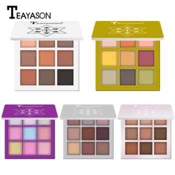 TEAYASON 9 Colors Matte Eyeshadow Dish Pearlescent Eye Shadow Makeup Diamond Glitter Mutiply Styles Eye Make Up Cosmetic TSLM1 недорого