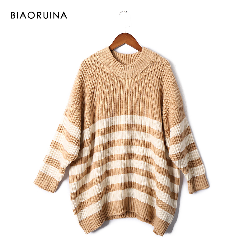 BIAORUINA 7 Color Women's Elegant Oversized Stripes Knit Pullovers Female Thick Warm Winter Fashion Sweater High Street
