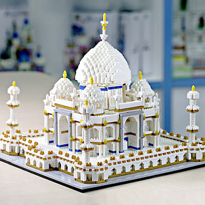 Taj Mahal model Famous NO COMPATIBLE city architecture 3D toys Yellow Crane Tower Diamond micro blocks building New York(China)