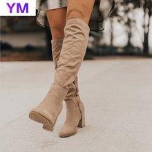 Botas por encima de la rodilla hasta el muslo para mujer, botas de moda para mujer, cálidas con punta en pico, botas con cremalleras para mujeres, zapatos cómodos para mujer