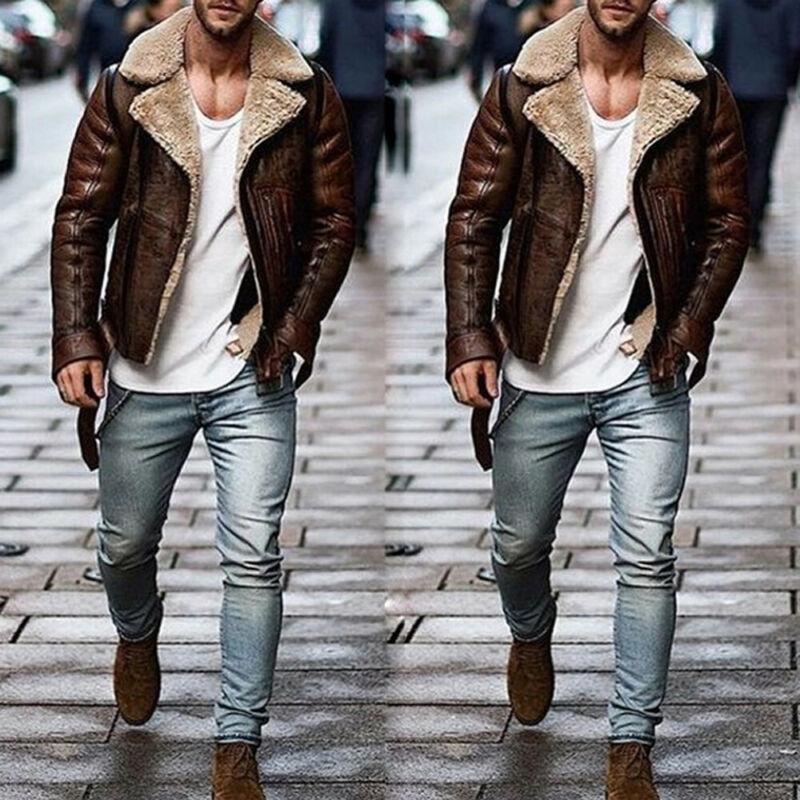 Men Aviator Brown PU Leather Jackets 2019 Brand New Style Bomber Fur Collar Sheepskin Jacket Peacoat Overcoat
