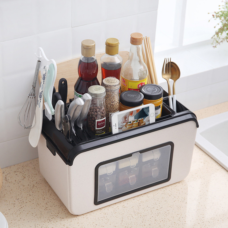 Creative Kitchen Supplies Multi-functional Organizing Tableware Storage Shelf Kitchen Seasoning Storage Box