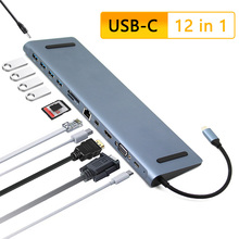 USB C HUB 12 في 1 نوع C إلى PD 4K HDMI MiniDP VGA SD/TF قارئ RJ45 إيثرنت USB3.0 3.5 مللي متر USB متعدد محول للحاسوب النقال برو باد