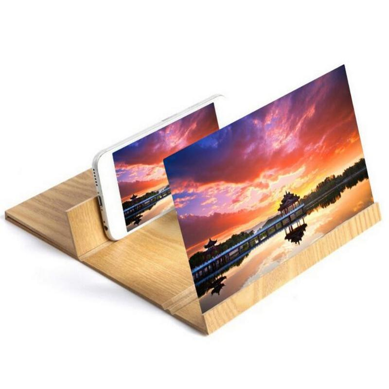 12 inch Folding 3d phone magnifier screen With Wood Frame HD Video Magnifying Glass Bracket Stand tablet holder eye protection-in Magnifiers from Tools