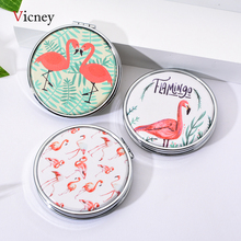 Vicney New Trend Mini Pocket Cosmetic Mirror Fashion Round Flamingos Makeup Mirrors Compact Beauty Double-sided Magnifier