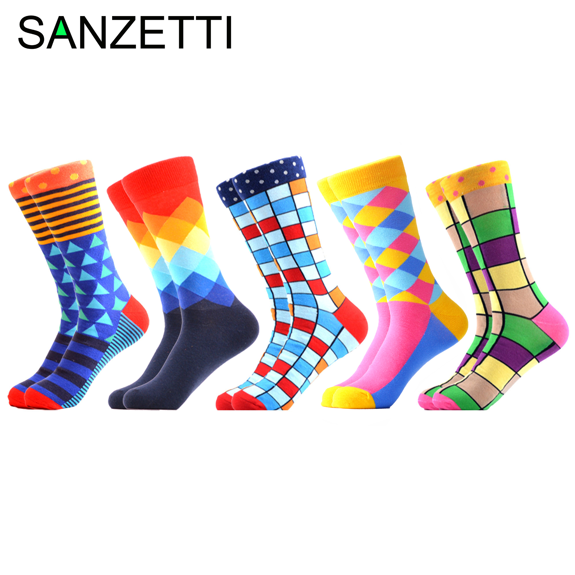 SANZETTI 5 Pairs/Lot 2020 New Men Casual Colorful Happy Socks Street Hip Hop Novelty Fun Combed Cotton Socks Wedding Gift Socks