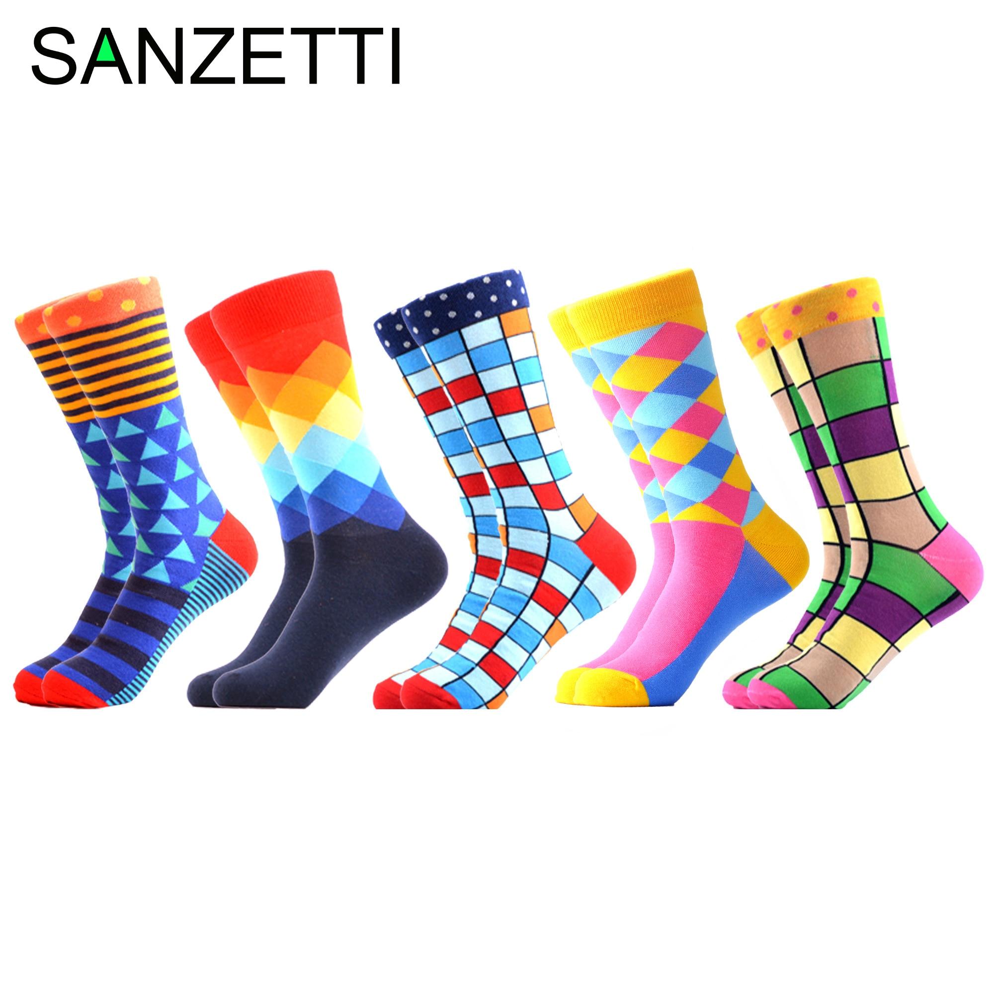 SANZETTI 5 Pairs/Lot 2020 New Men Casual Colorful Happy Socks Street Hip Hop Novelty Fun Combed Cotton Socks Wedding Gift Socks