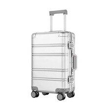כל אלומיניום מגנזיום סגסוגת עגלת מזוודה גברים נשים 20/24 inch מתגלגל מזוודות אוניברסלי גלגל העלאה מתכת תיבת סיסמא