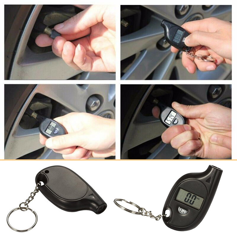 Mini Keychain Style Tire Gauge Digital LCD Display Car Tyre Air Pressure Tester Meter Truck Auto Motorcycle RV Tire Safety Alarm
