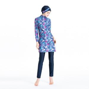 Image 2 - Islamic Womens Flower Printed Swimming Hijab Swimwear Modest Full Length Active Burkini Muslim Fitness Swimsuit Beach Clothes