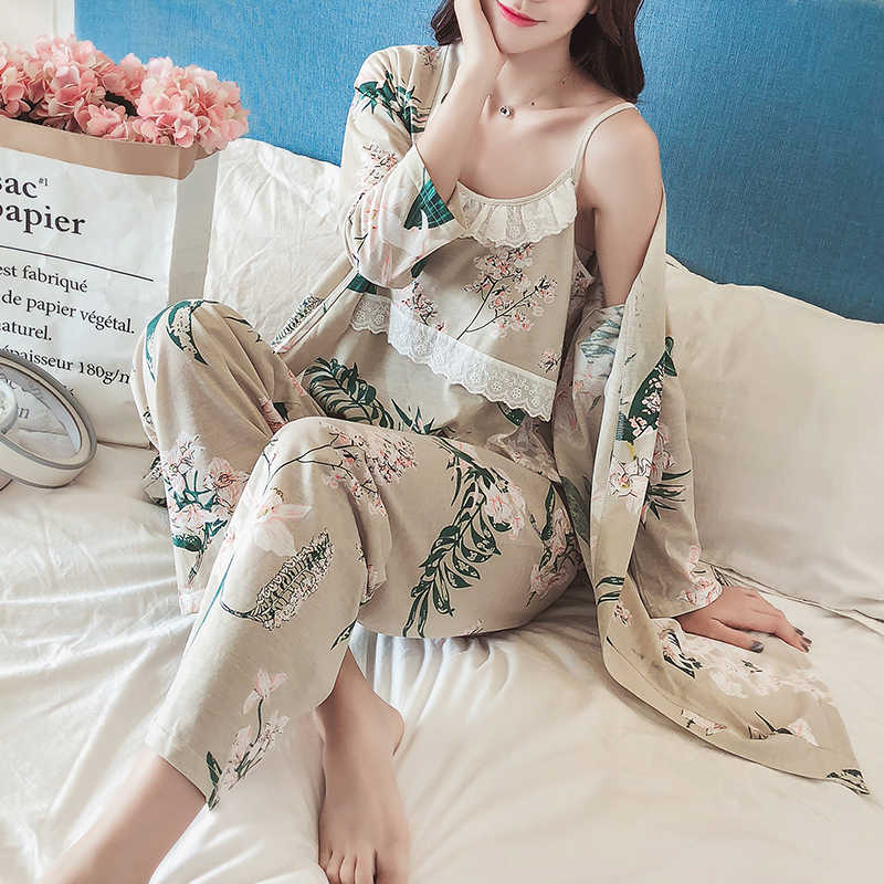3pcs/Set Cotton Postpartum Pregnant Women Breastfeeding Suit Long-sleeved Pajamas Home Clothes