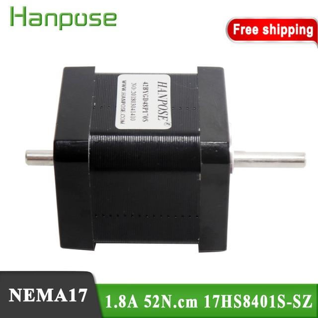 Free Shipping Nema17 Stepper Motor 42BYGH 1.8A 52N.CM 17hs8401S-SZ  42X48mm motor Double Shaft  For 3D Printer Monitor Equipment