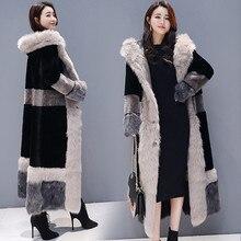 Женское пальто с искусственным мехом, зима размера плюс, русская Толстая Меховая куртка, уютное длинное меховое пальто, пушистое свободное теплое длинное пальто