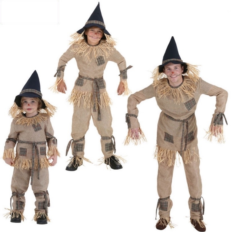 New halloween performance scarecrow costumes cosplay the party role of the wizard of oz to adult carnival child costume with hat
