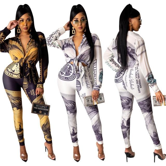 Deux pièces costume printemps survêtement ensembles femmes tenues Sexy Dollar imprimer à manches longues manteau hauts pantalons longs Ropa Mujer