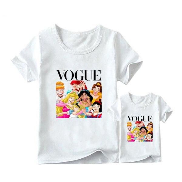 1 предмет, г. Летняя футболка с принтом принцессы в стиле панк модная одежда для мамы и дочки забавная семейная футболка с короткими рукавами - Цвет: 1
