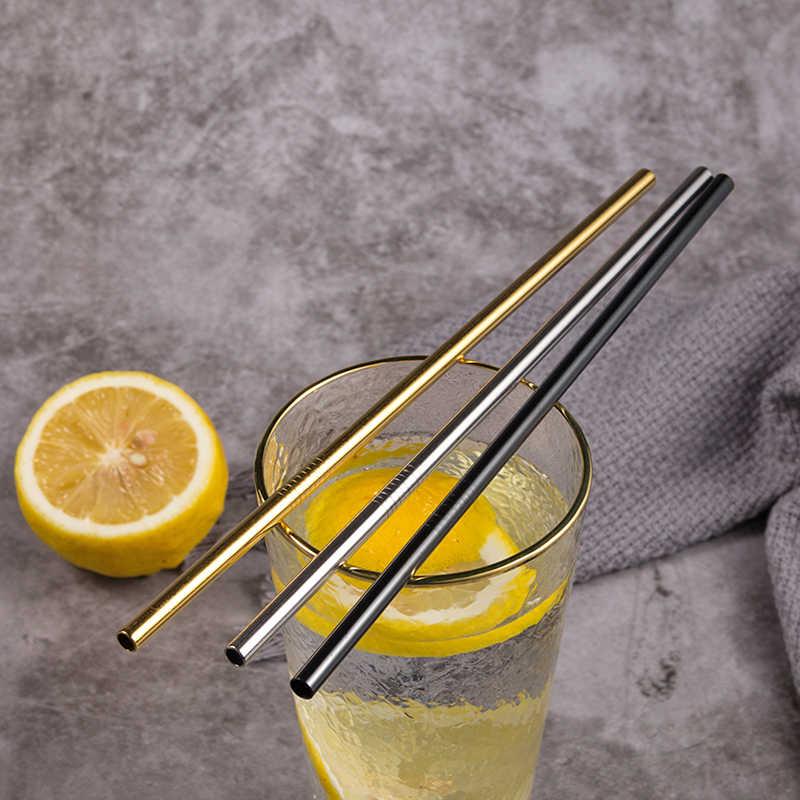 Metalowe słomki do picia wielokrotnego użytku 304 stal nierdzewna solidne wygięte proste napoje słomiane Kawaii kolorowe ochrona środowiska