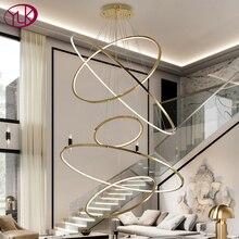 Moderne or led lustre pour escalier grand anneau en acier inoxydable luminaire brève villa hall hall hall décoration éclairage