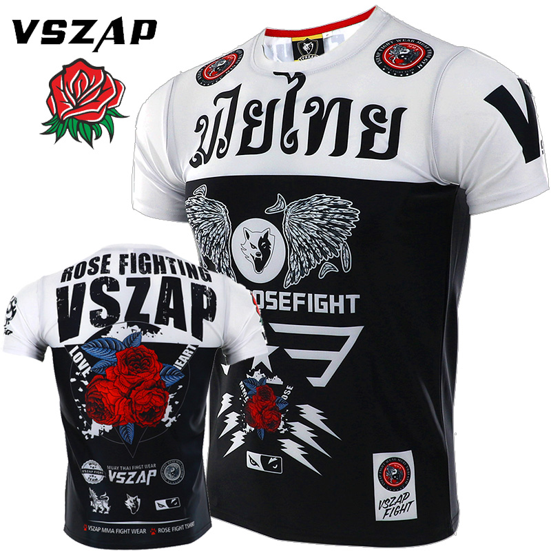 VSZAP Combat Sports Combat Free Combat Short Sleeve T-shirt Fitness Training MMA Appear Male Thai Boxing For Muscle
