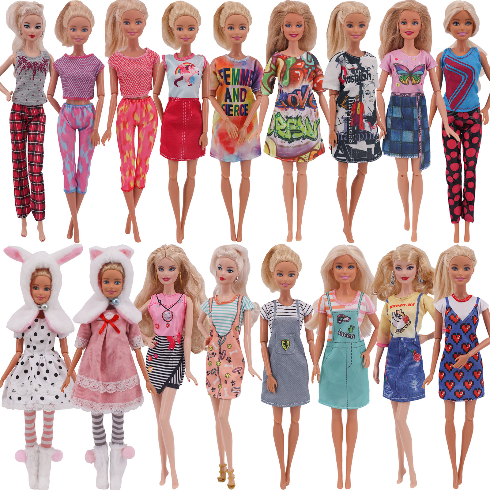 Barbies Doll New Clothes Everyday Wear Casual Dress Shirt Skirt Doll House For Barbie Doll Clothing accessories 5G JJ