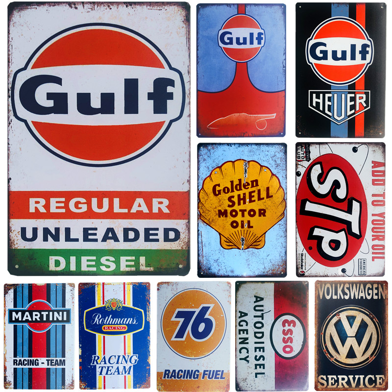 Vintage Metal Tin Signs Garage Gas Oil Art Poster Wall Decor for Garage Bar Man Cave Iron Painting Decorative Plate