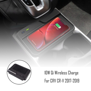 Universal 10W Qi Wireless Charger Car Console Quick Wireless Charger for HONDA CRV CR-V 2017-2019 for Iphone 8 X XS and All Qi-E