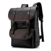 Retro männer Hohe Qualität Leder Rucksack 15,6 Zoll Laptop Rucksack Student Wasserdichte Rucksack Freizeit Reise Rucksack Solide PU