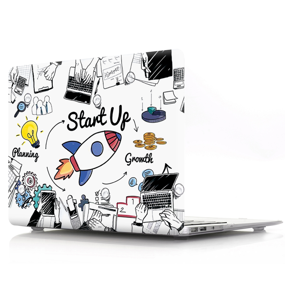 Cartoon Black White Hard PVC Coque for <font><b>Macbook</b></font> <font><b>Pro</b></font> <font><b>13</b></font> 15 Retina 12 inch 2015 Laptop <font><b>Cover</b></font> Astronaut Spacecraft <font><b>A1502</b></font> A1534 A1398 image